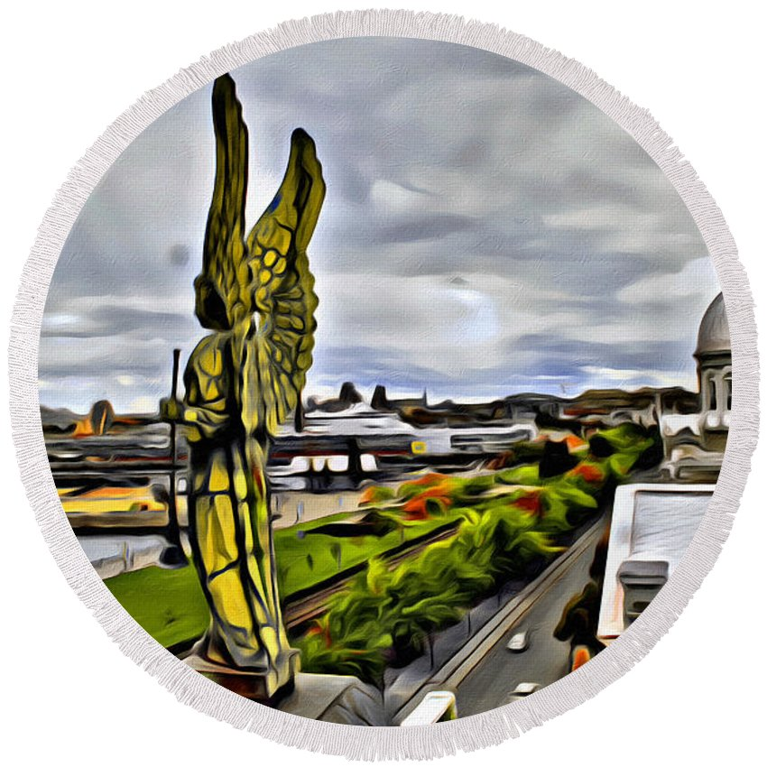Montreal Angel Statue City Scenic Round Beach Towel featuring the photograph Montreal Angel by Alice Gipson