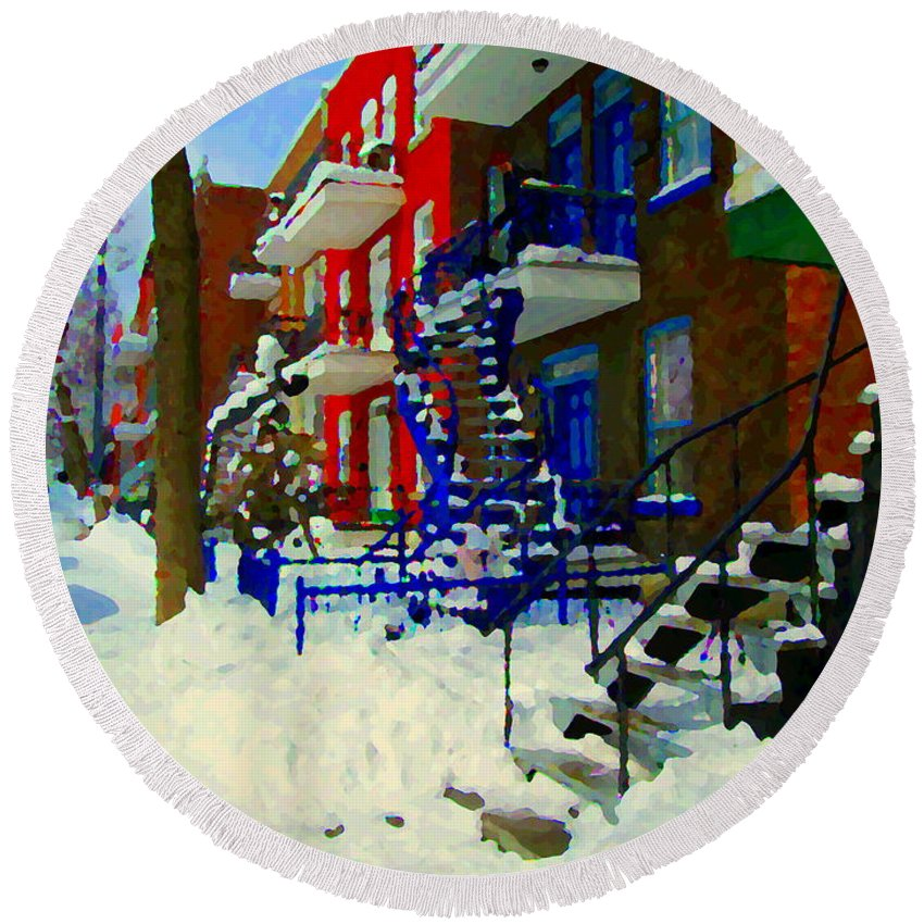 Montreal Round Beach Towel featuring the painting Montreal Art Streets Of Verdun Winter Scenes Winding Staircases Snowscenes Carole Spandau by Carole Spandau