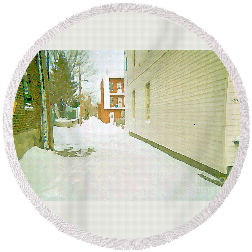 Montreal Round Beach Towel featuring the painting Montreal Art Urban Winter City Scene Painting Verdun Laneway After Heavy December Snowfall by Carole Spandau