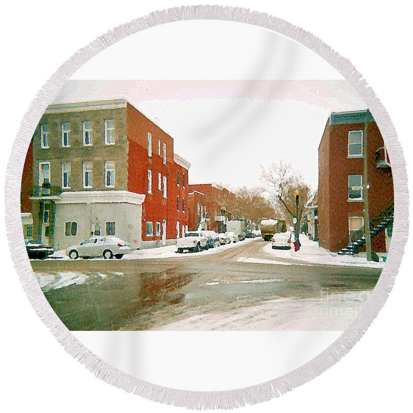 Montreal Round Beach Towel featuring the painting Montreal Art Winter Street Scene Painting The Point Psc Rowhouses In January Snow Cspandau by Carole Spandau