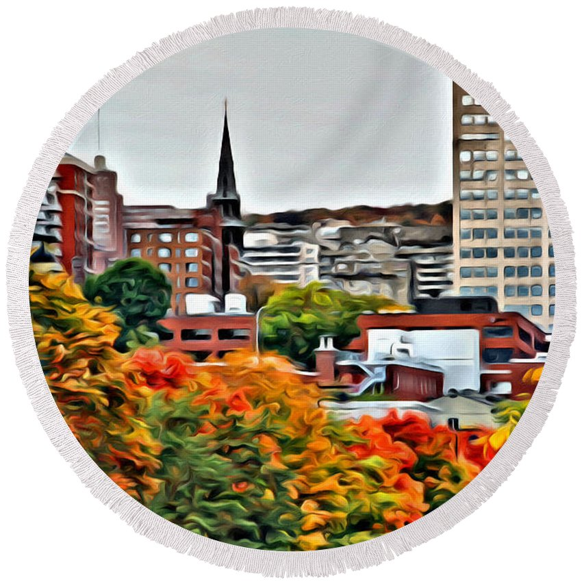 Montreal City Scenic Canada Round Beach Towel featuring the photograph Montreal City Colors by Alice Gipson