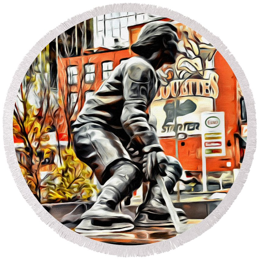 Montreal Hockey Lady Statue Scenic Round Beach Towel featuring the photograph Montreal Hockey Lady by Alice Gipson