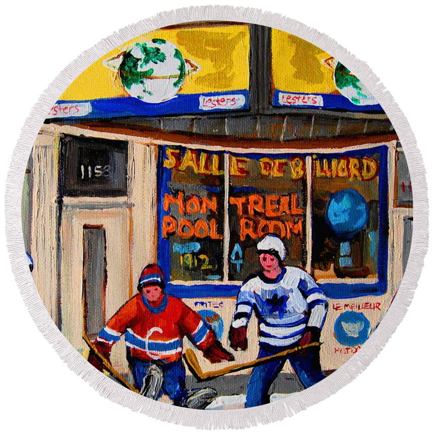 Montreal Round Beach Towel featuring the painting Montreal Pool Room City Scene With Hockey by Carole Spandau