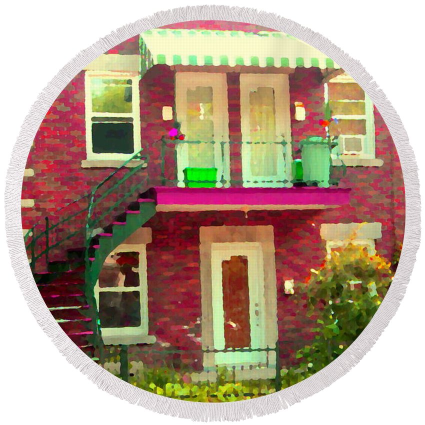 Montreal Round Beach Towel Featuring The Painting Montreal Stairs Painted  Brick House Winding Staircase And Summer