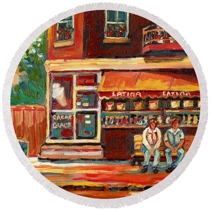 Montreal Round Beach Towel featuring the painting Montreal Street Scene Paintings by Carole Spandau