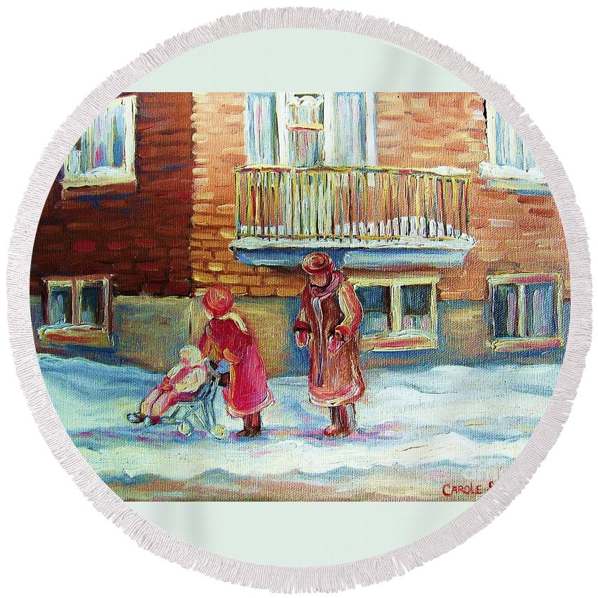 Montreal Round Beach Towel featuring the painting Montreal Winter Scenes by Carole Spandau