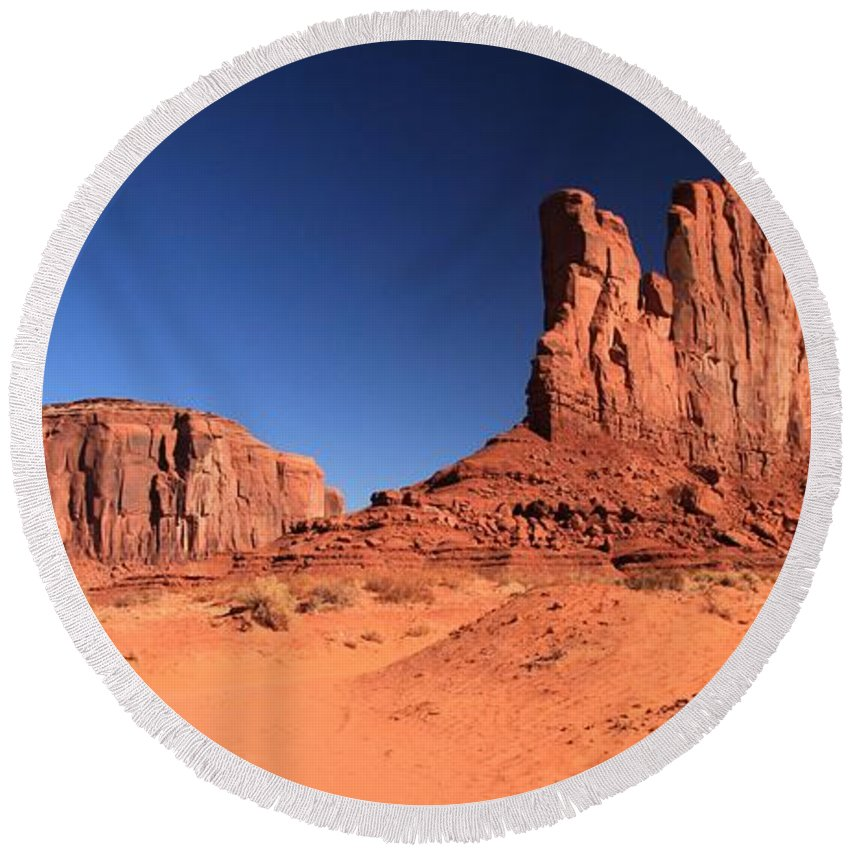 Monument Valley Round Beach Towel featuring the photograph Monument Spines by Adam Jewell