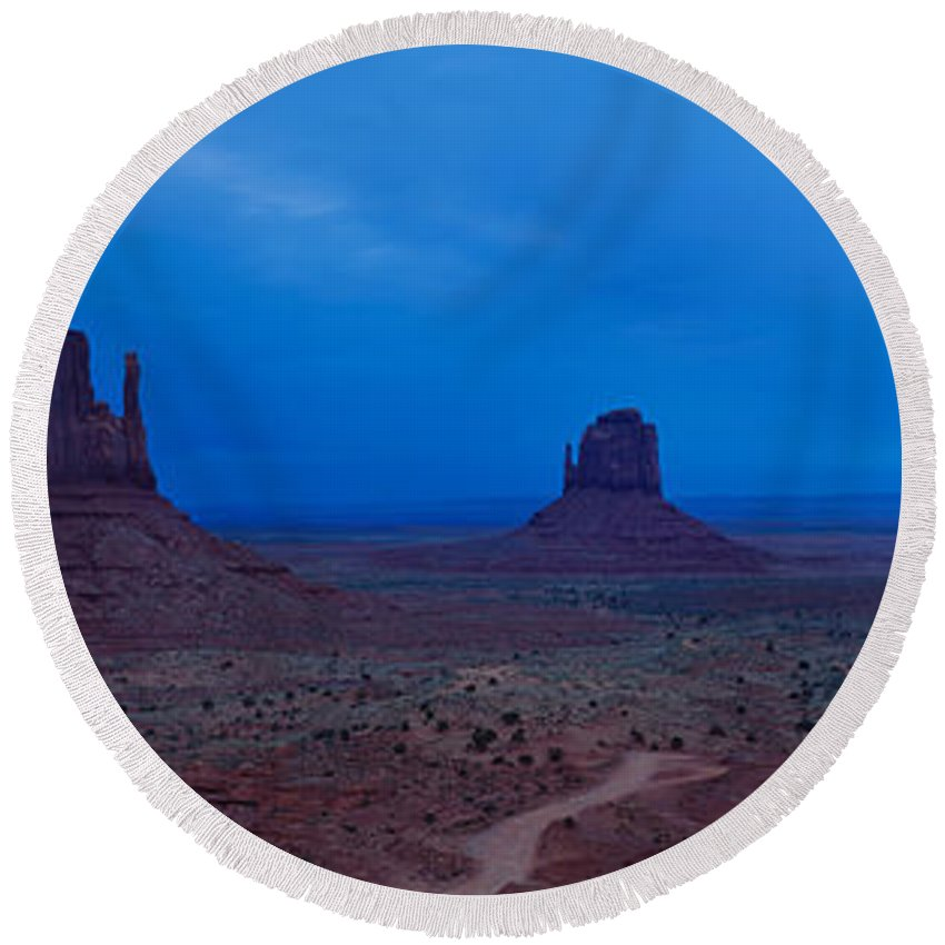 Photography Round Beach Towel featuring the photograph Monument Valley, Arizona by Panoramic Images