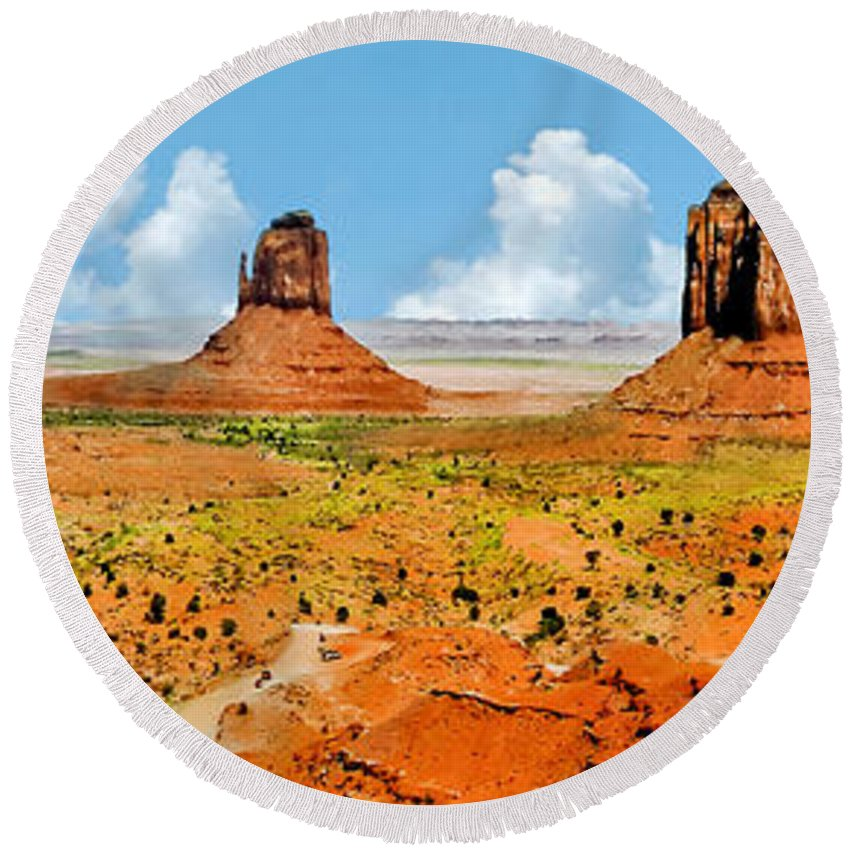 Native American Art Round Beach Towel featuring the painting Monument Valley In Spring Panoramic Painting by Bob and Nadine Johnston