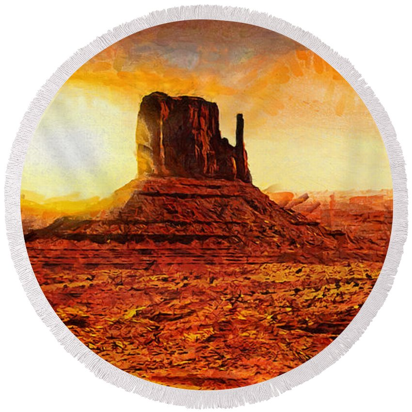 Monument Valley Round Beach Towel featuring the painting Monument Valley by Mo T