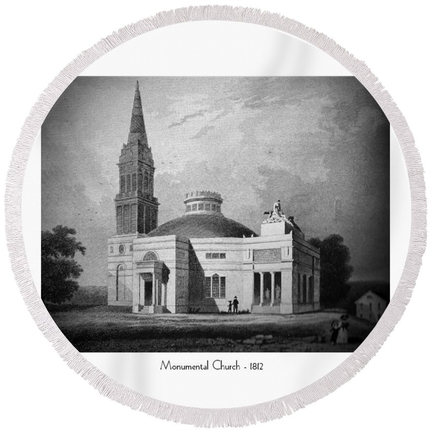 Monumental Church Round Beach Towel featuring the digital art Monumental Church - 1812 by John Madison