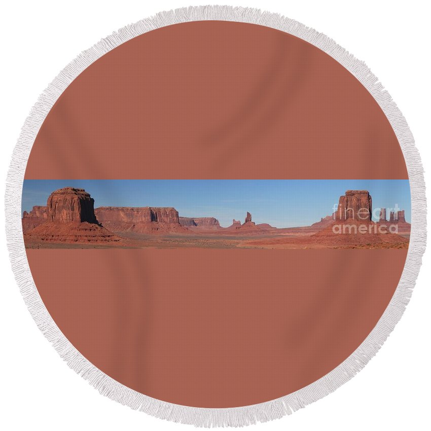 Monument Valley Round Beach Towel featuring the photograph Monumental Landscape by Adam Jewell