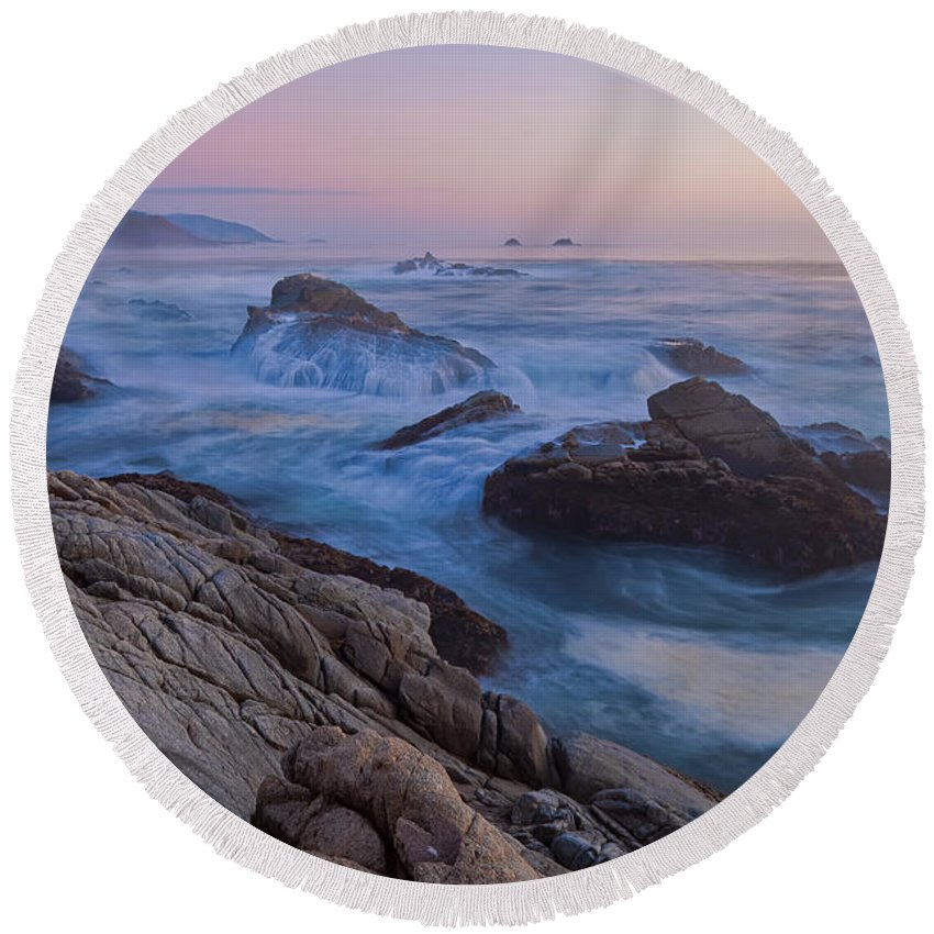 Landscape Round Beach Towel featuring the photograph Moody Blue by Jonathan Nguyen