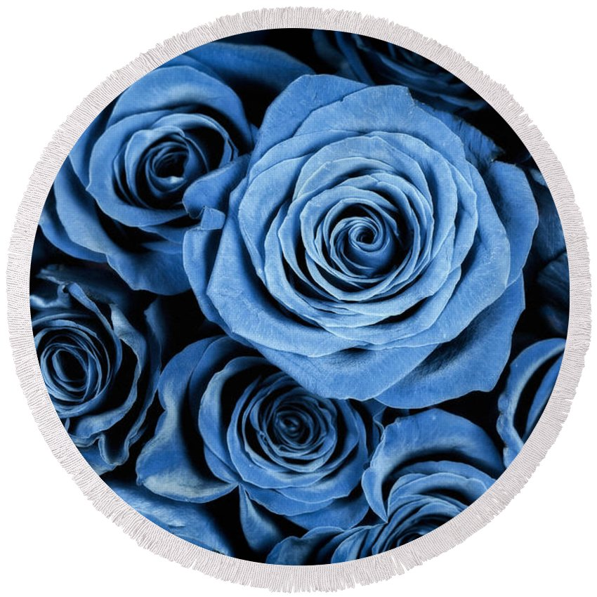3scape Round Beach Towel featuring the photograph Moody Blue Rose Bouquet by Adam Romanowicz