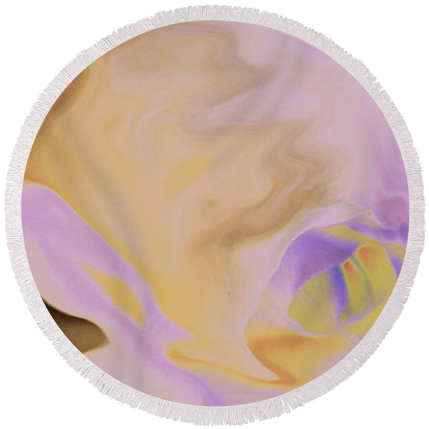 Abstract Round Beach Towel featuring the digital art Moody Rose by Carol Lynch