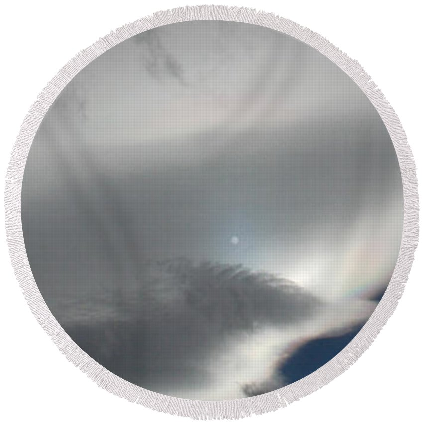 Moon Round Beach Towel featuring the photograph Moon And Rainbow by Brent Dolliver