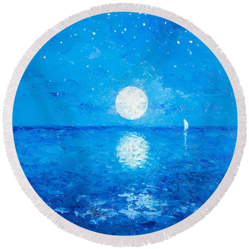 Moon Round Beach Towel featuring the painting Moon And Stars by Jan Matson