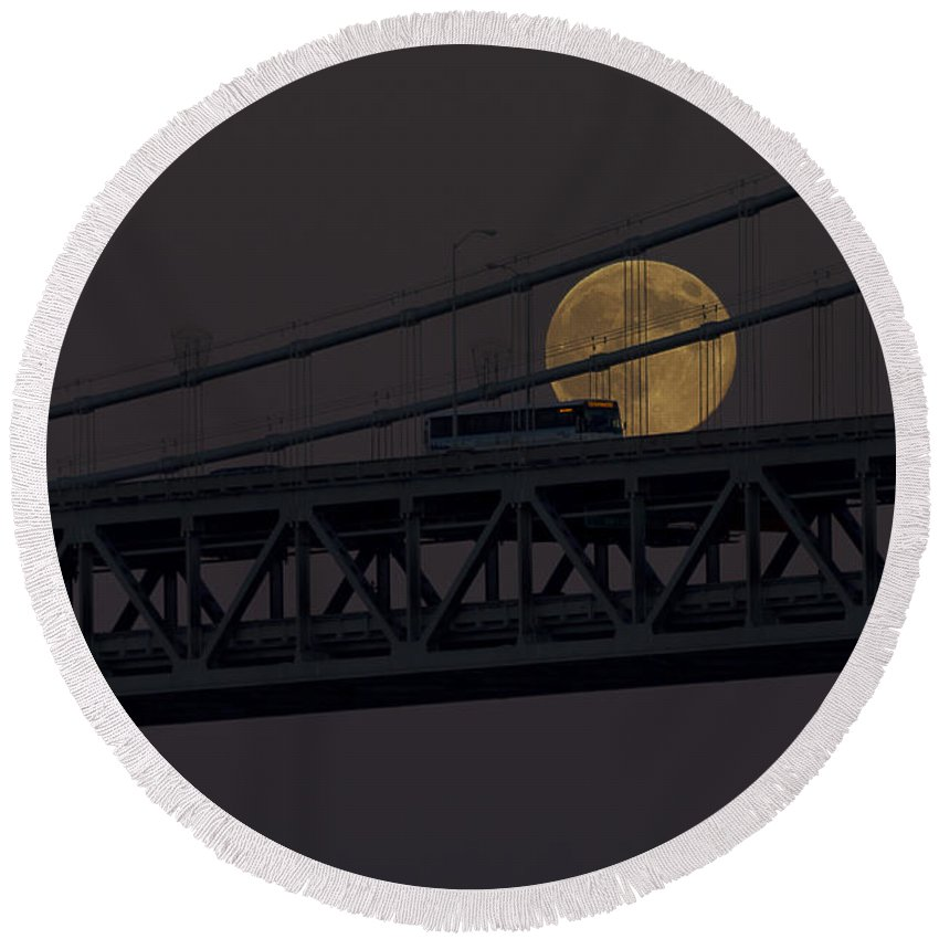 Kate Brown Round Beach Towel featuring the photograph Moon Bridge Bus by Kate Brown