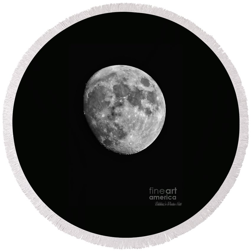 Moon Round Beach Towel featuring the photograph Moon by Debbie Portwood