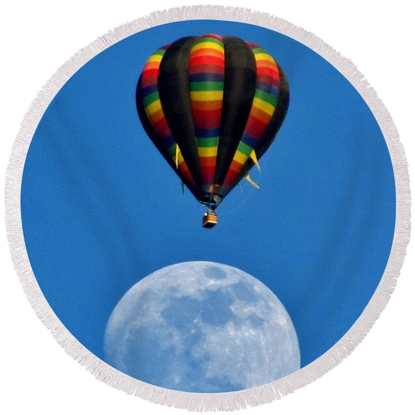 Moon Round Beach Towel featuring the photograph Moon Landing by Marilyn Smith