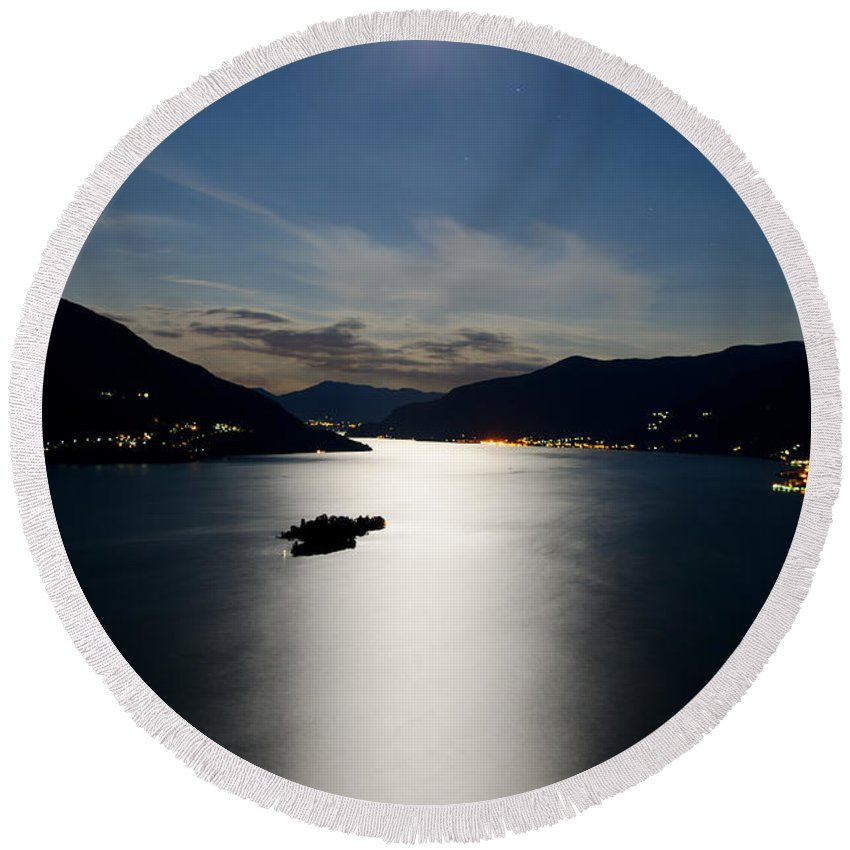 Moon Light Round Beach Towel featuring the photograph Moon Light And Island by Mats Silvan