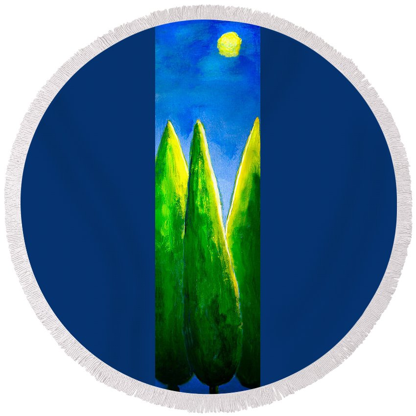 Abstract Round Beach Towel featuring the painting Moon-lit Night by Nirdesha Munasinghe