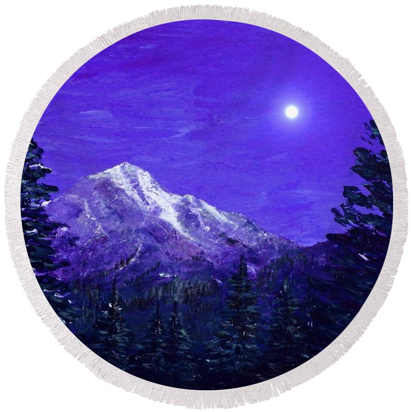 Moon Round Beach Towel featuring the painting Moon Mountain by Anastasiya Malakhova