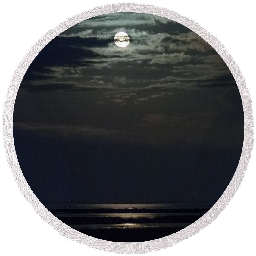 Moon Round Beach Towel featuring the photograph Moon Over Core Sound by Paula OMalley