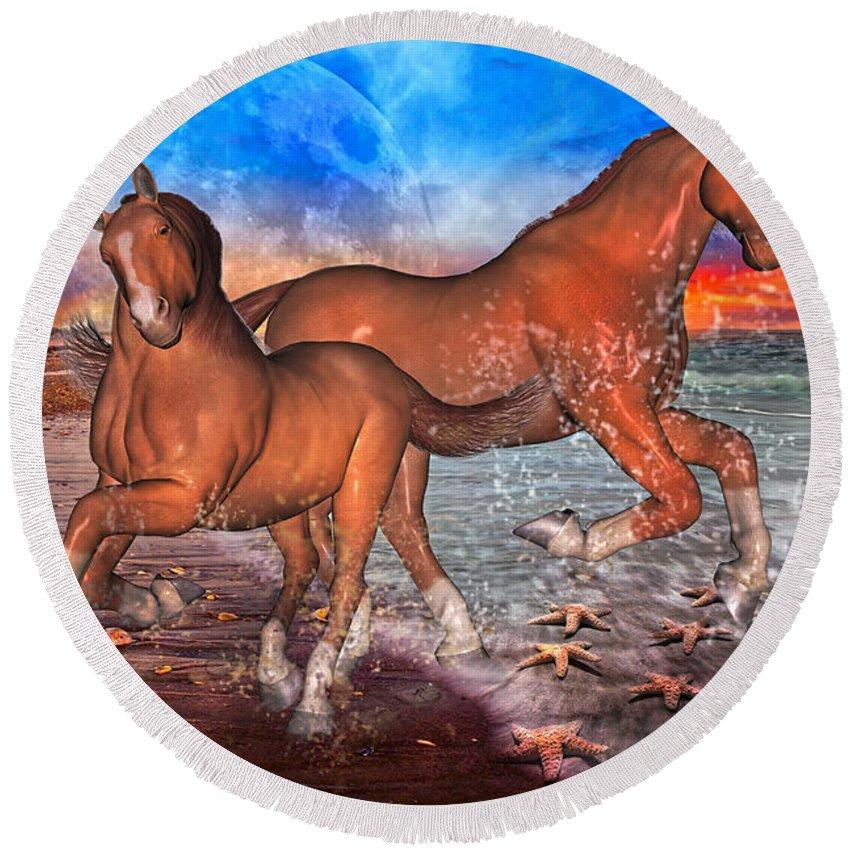 Horse Round Beach Towel featuring the digital art Moon Rise Splendor by Betsy Knapp