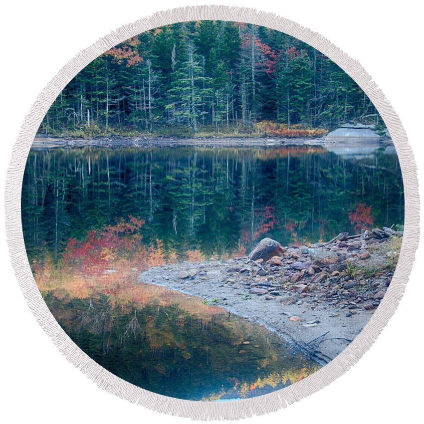 Autumn Round Beach Towel featuring the photograph Moon Setting Fall Foliage Reflection by Jeff Folger