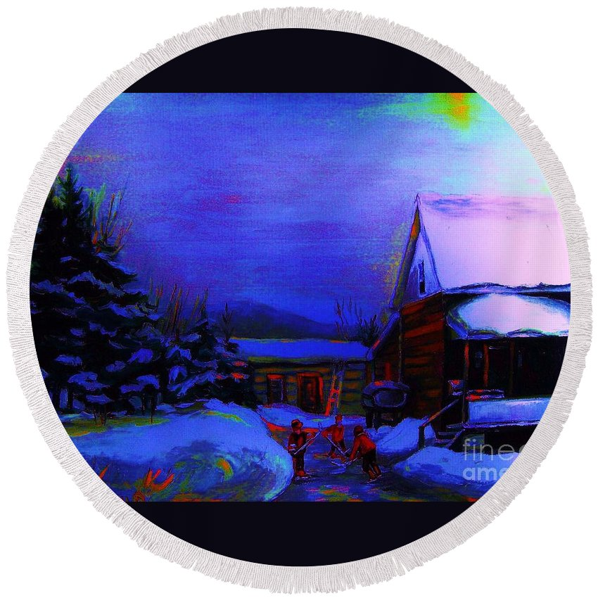 Hockey Round Beach Towel featuring the painting Moonglow On Powder by Carole Spandau