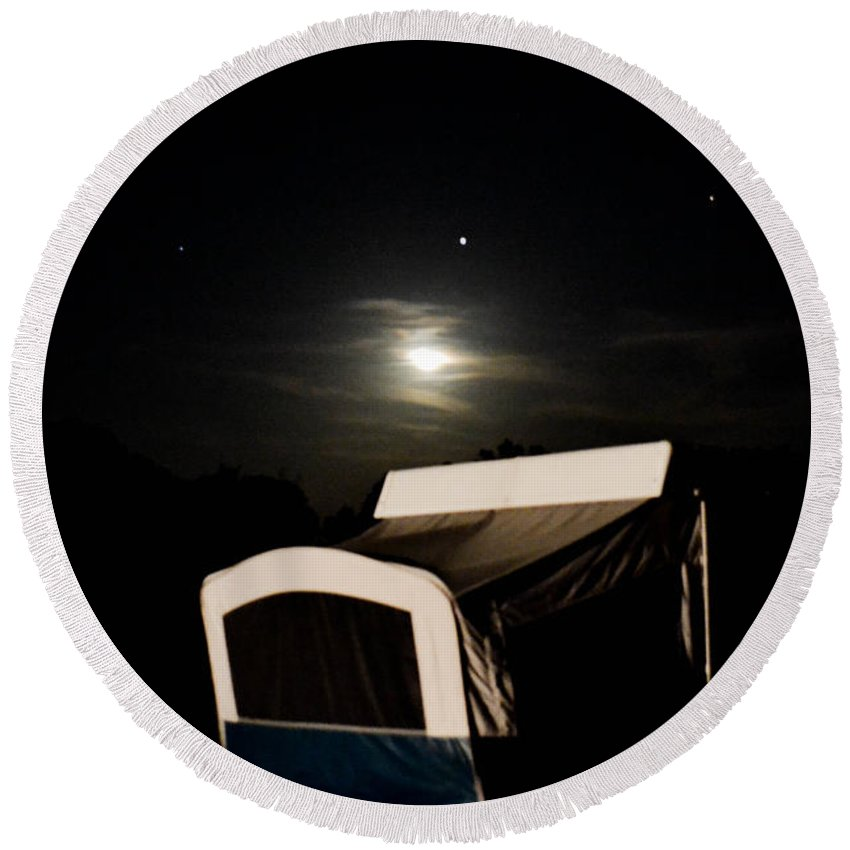 Moon Round Beach Towel featuring the photograph Moonlight Camper by Wanda J King