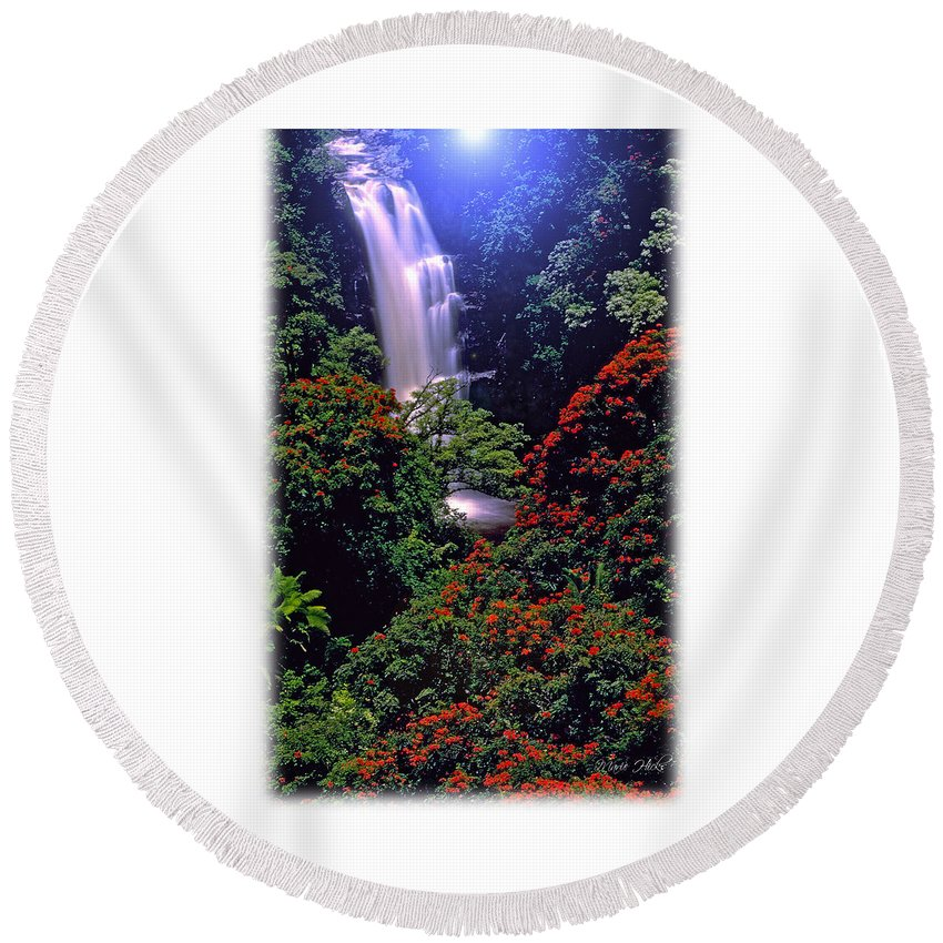 Hawaii Round Beach Towel featuring the photograph Moonlight Falls by Marie Hicks