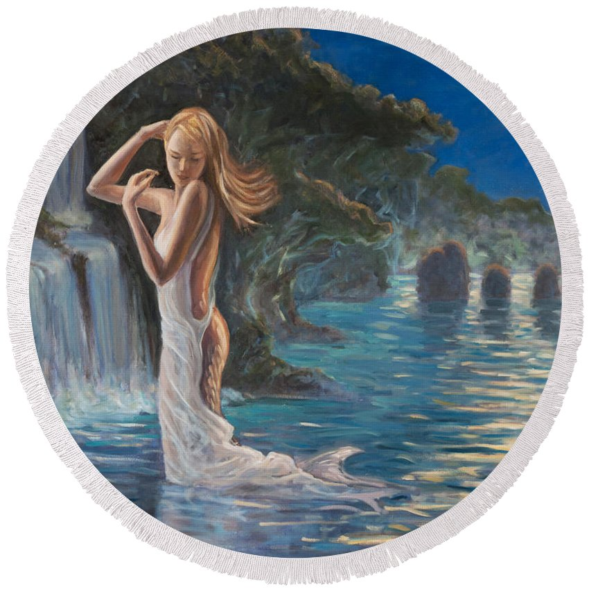 Mermaid Round Beach Towel featuring the painting Transformed By The Moonlight by Marco Busoni