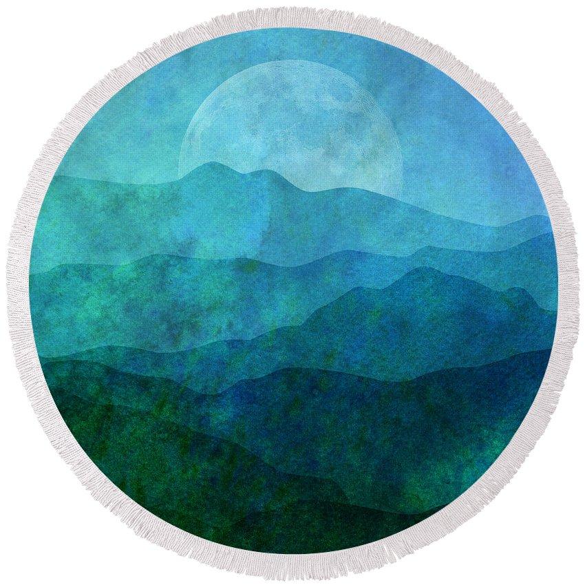 Gary Grayson Round Beach Towel featuring the digital art Moonlight Hills by Gary Grayson