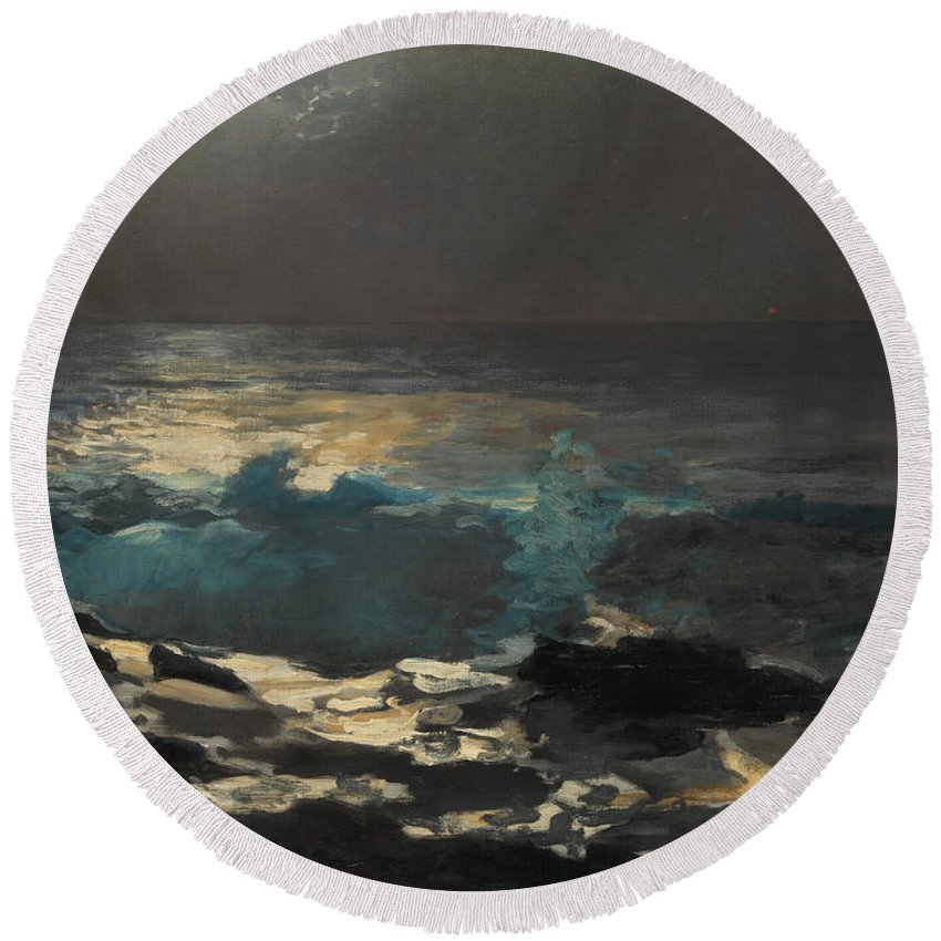 Winslow Homer Round Beach Towel featuring the painting Moonlight. Wood Island Light by Winslow Homer