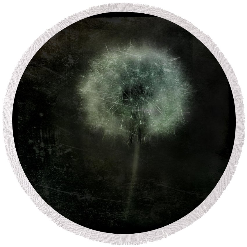 Dandelion Round Beach Towel featuring the photograph Moonlit Dandelion by Gothicrow Images