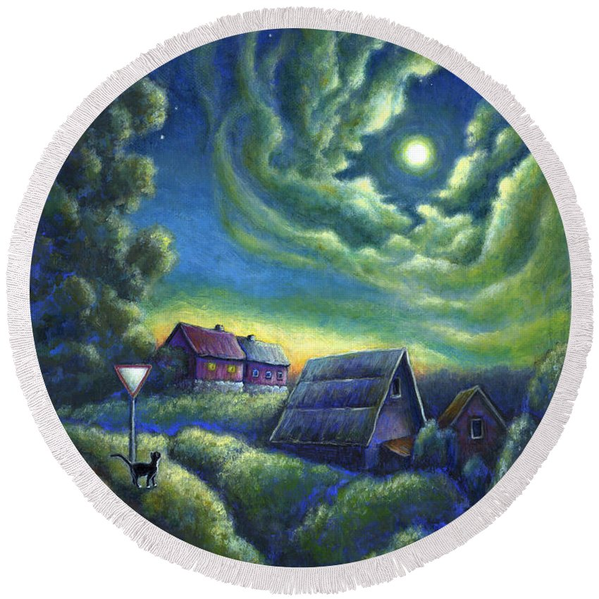 Moon Round Beach Towel featuring the painting Moonlit Dreams Come True by Retta Stephenson