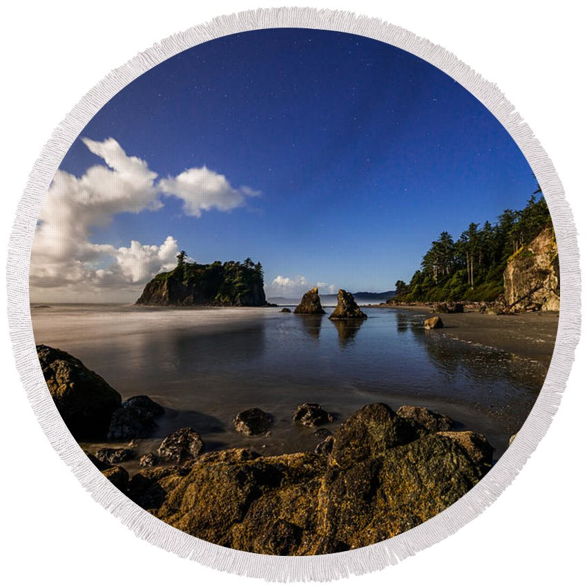 Haystack Rock Photographs Round Beach Towels