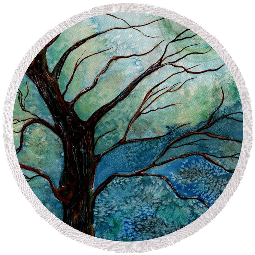 Landscape Round Beach Towel featuring the painting Moonrise In The Wild Night by Brenda Owen