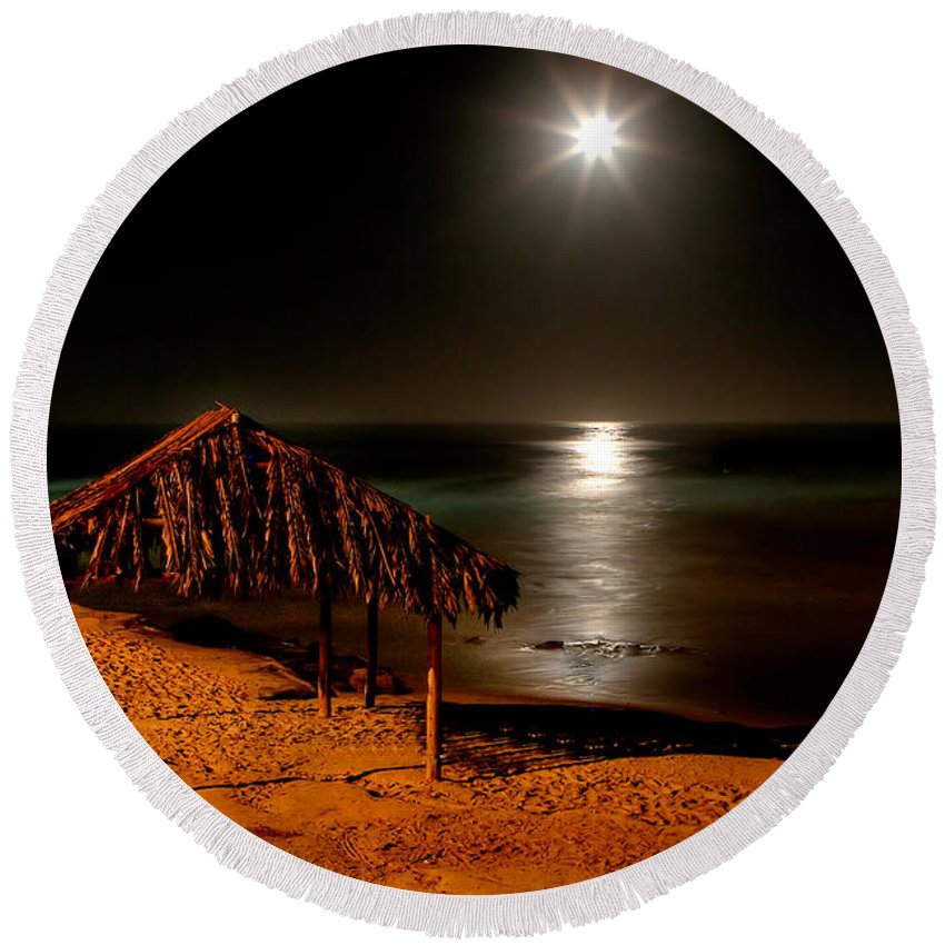 Moon Round Beach Towel featuring the photograph Moonset Over Windnsea by Peter Tellone