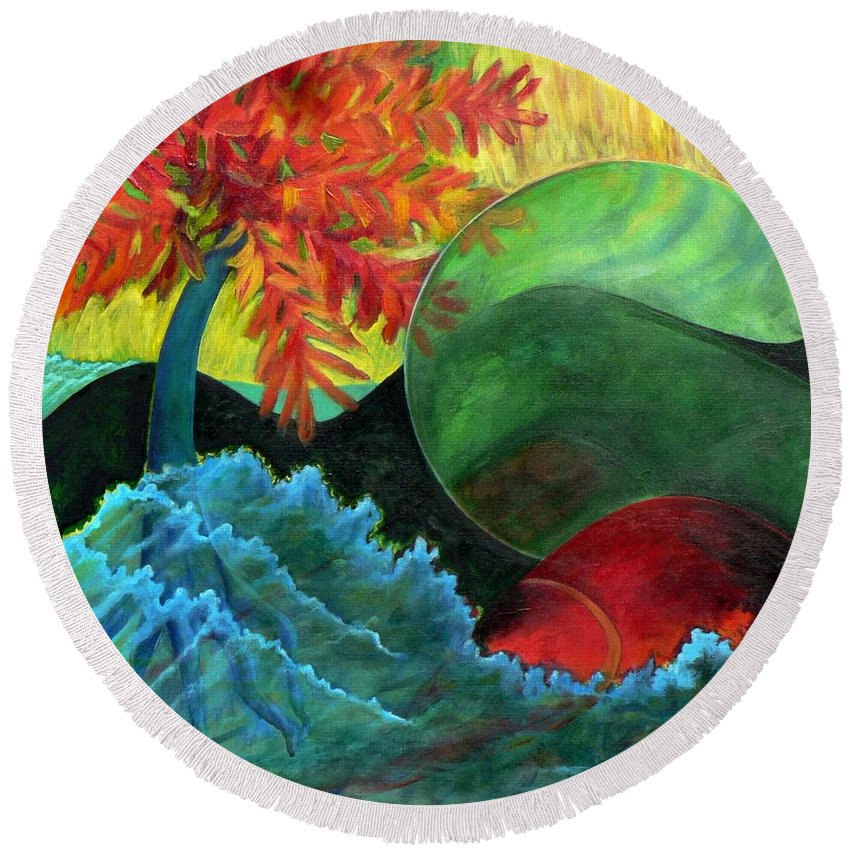 Surreal Landscape Round Beach Towel featuring the painting Moonstorm by Elizabeth Fontaine-Barr