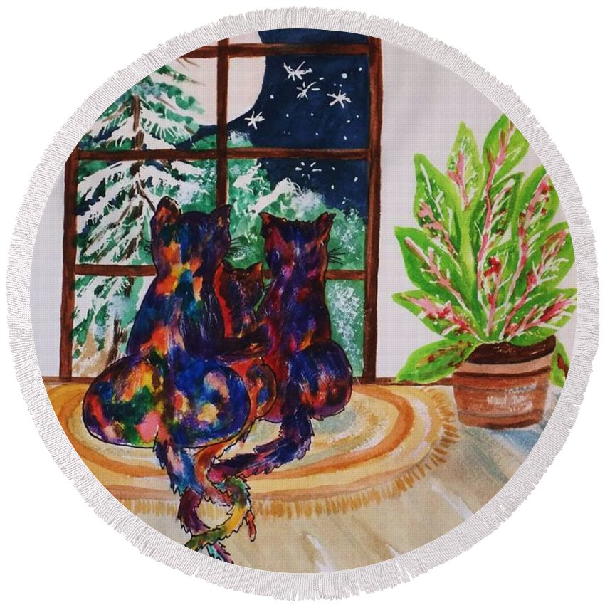 Cats Round Beach Towel featuring the painting Moonstruck Cats - Winter Wonderland by Ellen Levinson