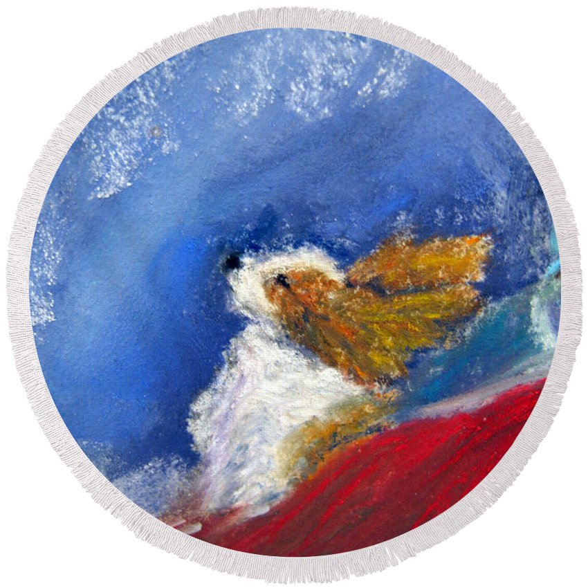 Winter Round Beach Towel featuring the painting Moonstruck by Loretta Luglio