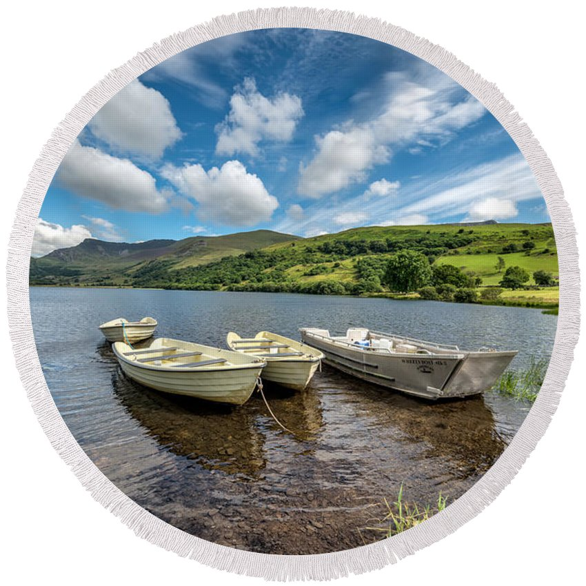 Water Round Beach Towel featuring the photograph Moored Boats by Adrian Evans