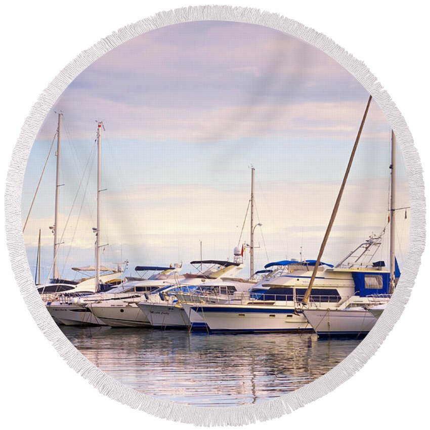 For Yachts Lovers Round Beach Towel featuring the photograph Moored Yachts. For Yachts Lovers I. Benalmadena Puerto Marina by Jenny Rainbow