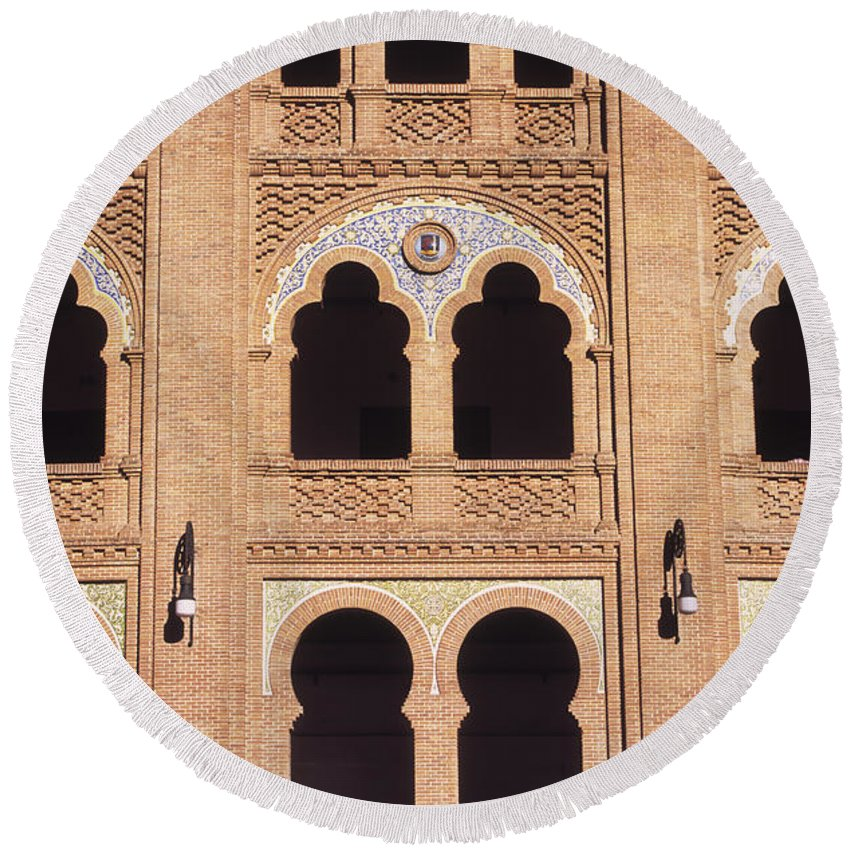 Spain Round Beach Towel featuring the photograph Moorish Arches Madrid by James Brunker