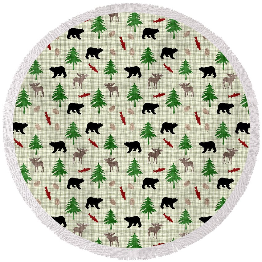 Moose Round Beach Towel featuring the mixed media Moose And Bear Pattern by Christina Rollo