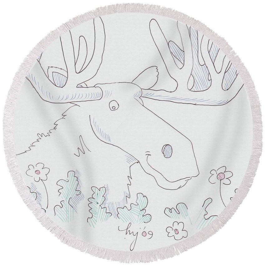 Moose Round Beach Towel featuring the drawing Moose Cartoon by Mike Jory
