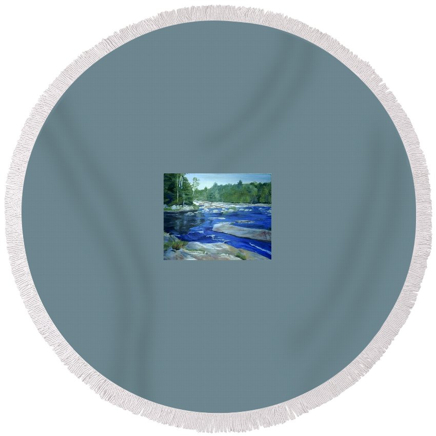 Moose River Round Beach Towel featuring the painting Moose River Lyons Falls by Sheila Mashaw